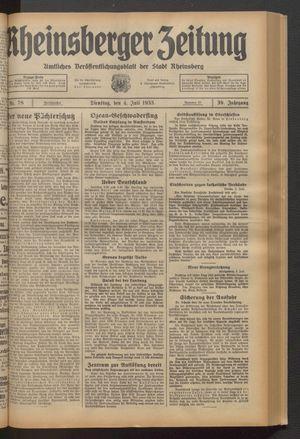 Rheinsberger Zeitung vom 04.07.1933