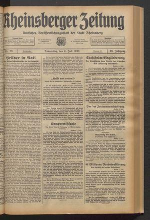 Rheinsberger Zeitung vom 06.07.1933