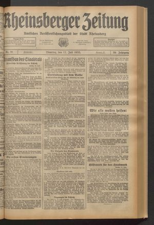 Rheinsberger Zeitung vom 11.07.1933
