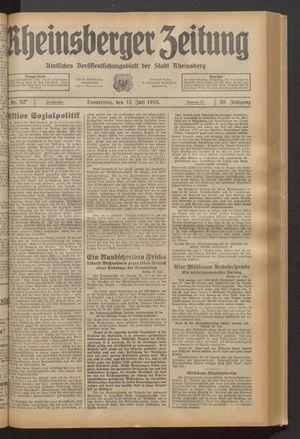 Rheinsberger Zeitung vom 13.07.1933