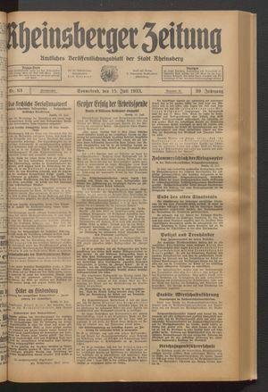 Rheinsberger Zeitung vom 15.07.1933