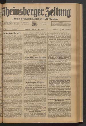 Rheinsberger Zeitung vom 18.07.1933
