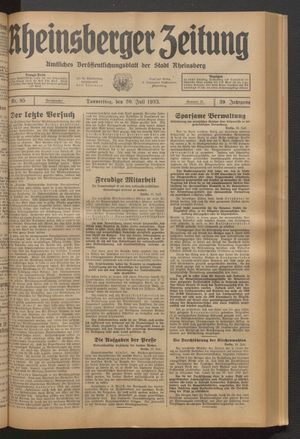 Rheinsberger Zeitung vom 20.07.1933