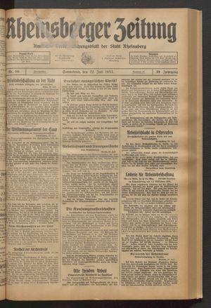 Rheinsberger Zeitung vom 22.07.1933
