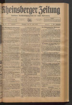 Rheinsberger Zeitung vom 25.07.1933