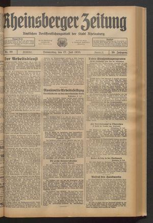 Rheinsberger Zeitung vom 27.07.1933