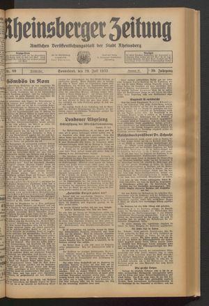 Rheinsberger Zeitung vom 29.07.1933