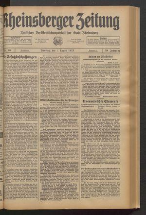 Rheinsberger Zeitung vom 01.08.1933