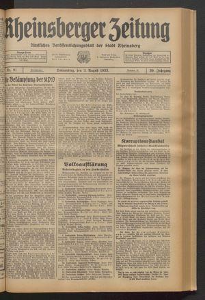 Rheinsberger Zeitung vom 03.08.1933