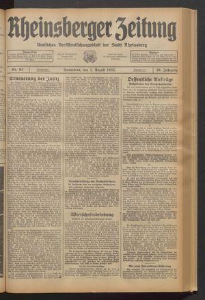 Rheinsberger Zeitung vom 05.08.1933