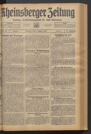 Rheinsberger Zeitung vom 08.08.1933