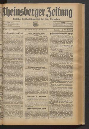 Rheinsberger Zeitung vom 19.08.1933
