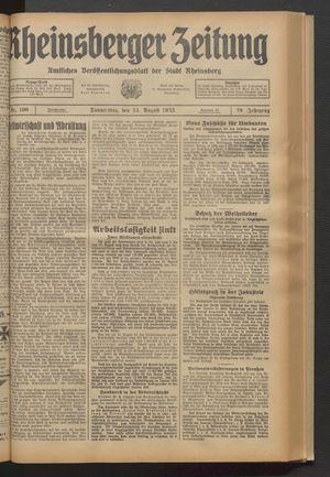 Rheinsberger Zeitung vom 24.08.1933