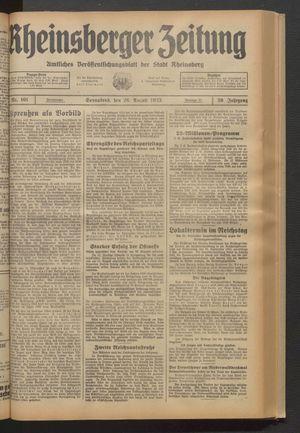 Rheinsberger Zeitung vom 26.08.1933