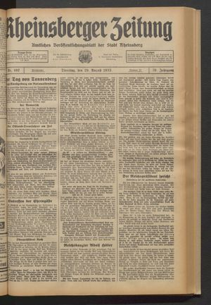 Rheinsberger Zeitung vom 29.08.1933