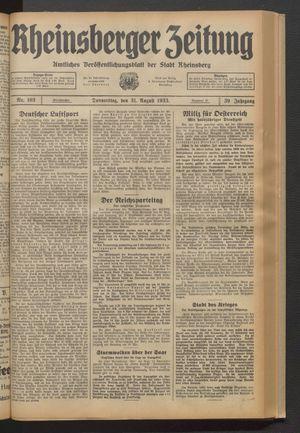 Rheinsberger Zeitung vom 31.08.1933