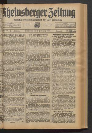 Rheinsberger Zeitung vom 02.09.1933