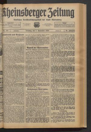 Rheinsberger Zeitung vom 05.09.1933