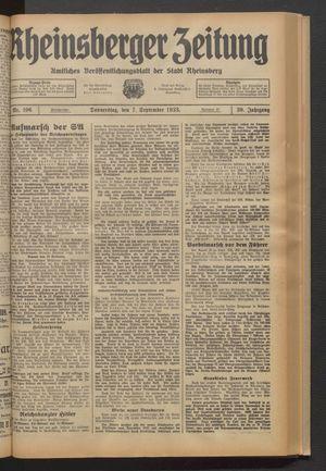Rheinsberger Zeitung vom 07.09.1933