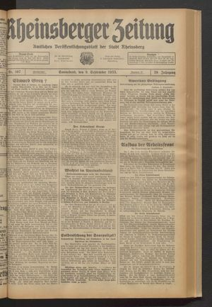 Rheinsberger Zeitung vom 09.09.1933