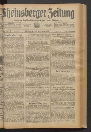 Rheinsberger Zeitung vom 12.09.1933