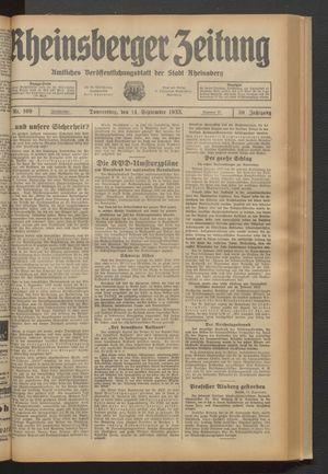 Rheinsberger Zeitung vom 14.09.1933