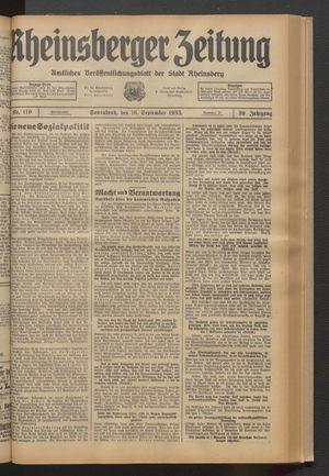 Rheinsberger Zeitung vom 16.09.1933