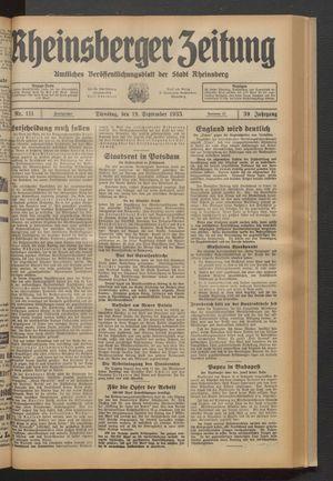 Rheinsberger Zeitung vom 19.09.1933