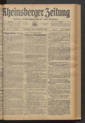 Rheinsberger Zeitung vom 21.09.1933