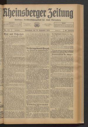 Rheinsberger Zeitung vom 23.09.1933