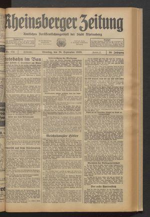 Rheinsberger Zeitung on Sep 26, 1933
