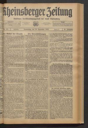 Rheinsberger Zeitung vom 28.09.1933