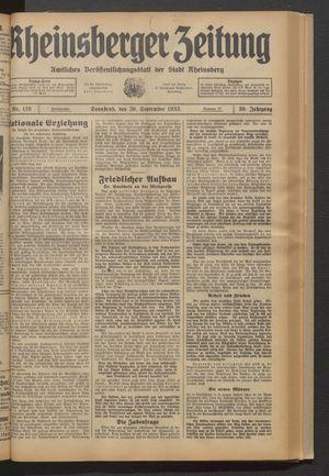 Rheinsberger Zeitung vom 30.09.1933