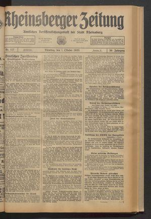 Rheinsberger Zeitung vom 03.10.1933