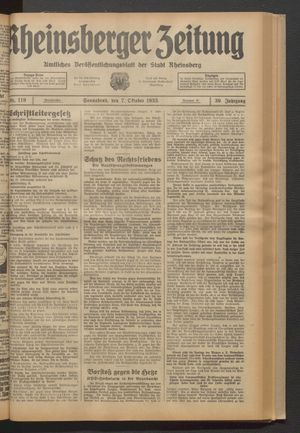 Rheinsberger Zeitung vom 07.10.1933