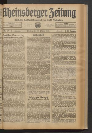 Rheinsberger Zeitung vom 10.10.1933