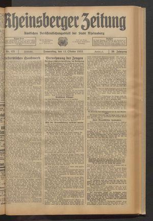 Rheinsberger Zeitung on Oct 12, 1933
