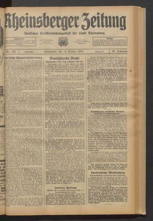 Rheinsberger Zeitung vom 14.10.1933