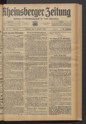 Rheinsberger Zeitung on Oct 17, 1933