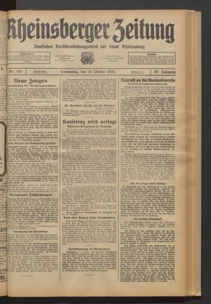 Rheinsberger Zeitung vom 19.10.1933