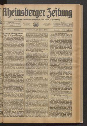 Rheinsberger Zeitung vom 21.10.1933