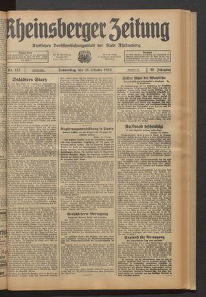 Rheinsberger Zeitung vom 26.10.1933