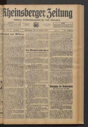 Rheinsberger Zeitung on Oct 28, 1933