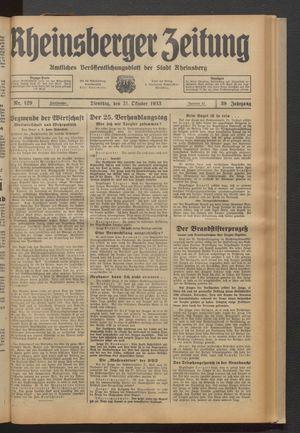 Rheinsberger Zeitung vom 31.10.1933
