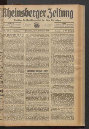 Rheinsberger Zeitung vom 02.11.1933