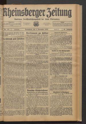 Rheinsberger Zeitung vom 04.11.1933