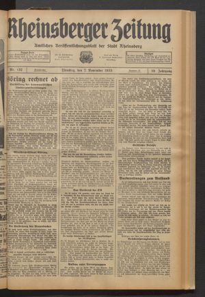 Rheinsberger Zeitung vom 07.11.1933