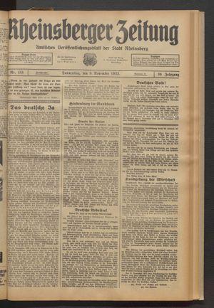 Rheinsberger Zeitung vom 09.11.1933