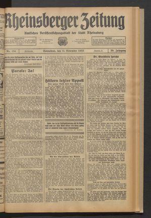 Rheinsberger Zeitung vom 11.11.1933