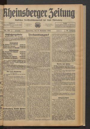 Rheinsberger Zeitung vom 16.11.1933
